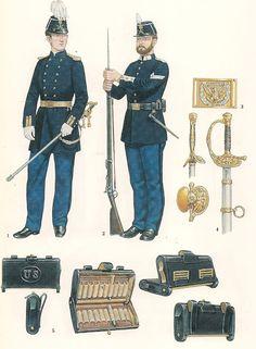1 & 2 .- Officer & Infantryman, 1876.
