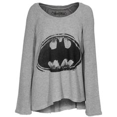 LAUREN MOSHI Kenna Batman Grey Oversize knit sweater ($225) ❤ liked on Polyvore featuring tops, sweaters, shirts, batman, knit sweater, gray knit sweater, oversized shirt, grey sweater and loose shirts