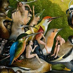 Hieronymus Bosch - The Garden of Earthly Delights, center panel, detail, c. - Oil on wood - The Prado, Madrid Jan Van Eyck, Medieval Art, Renaissance Art, Arte Tribal, Garden Of Earthly Delights, Rene Magritte, Dutch Painters, Red Art, Arte Popular