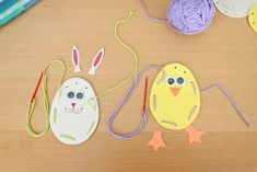 -maybe- Bunny and chick yarn sewing pouches  Could have candy or non-food filler, or not fill at all  Construction paper, yarn, markers, glue sticks, tape (for yarn ends), googly eyes