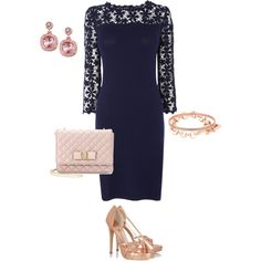 A fashion look from December 2013 featuring blue maxi dress, high heels sandals and leather hand bags. Browse and shop related looks. Navy Blue Dresses, Navy Dress, Rose Gold Accessories, Rose Gold Heels, Dressing, Shoe Bag, Formal Dresses, My Style, How To Wear
