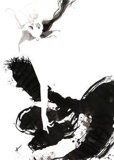 Fashion illustration - stylish black & white fashion drawing // Yasunari Awazu