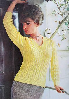 INSTANT PDF Knitting Pattern 1960s Mad Men Era Vintage Sexy Kitten Sweater Pattern V Neckline  A Classic Pattern