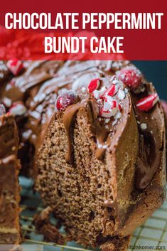 This Chocolate Peppermint Bundt Cake is moist, chocolatey and the cake you need to make this holiday season! krollskorner.com | #chocolate #bundtcake #easy #dessert #christmas #peppermint Delicious Cake Recipes, Easy Cake Recipes, Cupcake Recipes, Yummy Cakes, Cupcake Cakes, Dessert Recipes, Bundt Cakes, Cupcakes, Frosting Recipes