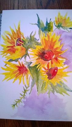 watercolor painting of sunflowers in the summer are a delight to see when the sky is blue.