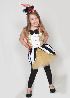 boutique custom handmade pageant girls circus clown outfit ringmaster tutu and top costume carnival tutu circus outfit - Pageant Girl Halloween Costume