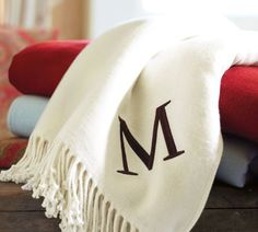 personalize this throw blanket with your initials in many different styles and colors