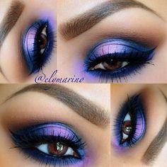 Purple and blue. Pretty Eyes, Gorgeous Eyes, Gorgeous Makeup, Pretty Makeup, Love Makeup, Makeup Looks, Bold Eye Makeup, Bright Eye Makeup, Makeup Art