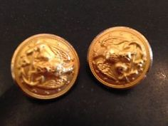Waterbury Button COS Conn Military Eagle Gold Tone Brass Clip Earrings Vintage | eBay