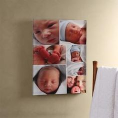 Personalized Baby Photo Canvas Collage with Frame  $38.95