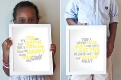 You are my sunshine art print set.  Yellow and gray gender neutral nursery art.  Printable, too!