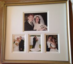 40th Anniversary gift for our parents. Their wedding picture framed with all the kids on our wedding days #anniversary