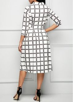 High Waist Printed Three Quarter Sleeve Dress   Rosewe.com - USD $32.19