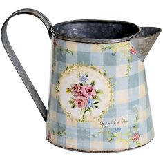 £13.99 Vintage Rose Small Jug  Dimensions: 18cm x 22cm x 9cm   From the vintage rose collection www.countryessence.co.uk Small Tins, Vintage Roses, Country Kitchen, Gingham, Shabby Chic, Blue And White, Pattern, French, Inspiration