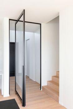Modern glass pivoting doors made-to-measure with innovative hinges Glass Bathroom Door, Glass Shower Doors, Glass Door, Sliding Door Design, Interior Styling, Interior Design, Pivot Doors, Aluminium Doors, Steel Doors