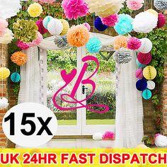 "15 Mixed Sizes 8"" 10"" 15"" S M L Tissue Paper Pom poms Wedding Party Decoration"