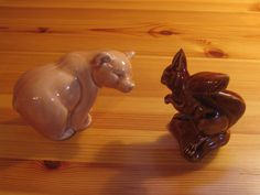 Two animal figures from Poole Pottery, England - Bear and Squirrel by DeeGeeRetro on Etsy