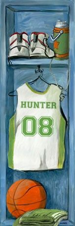 Hand draw school Jersey and locker have the kids color in on Canvas-Basketball Locker