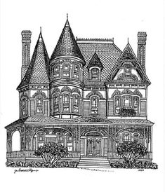 Printable coloring pages for adults/ Victorian Houses - Google Search