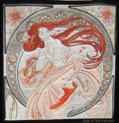 Alphonse Mucha by Linda M. Steller,  Photo by Quilt Inspiration: World Painters Challenge / 2016 AQS