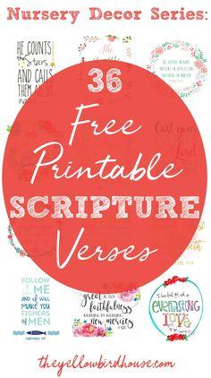 Nursery Decor Series: 36 Free Printable Scripture Verses