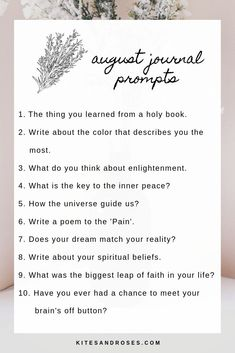 Here are the 10 journal prompts for this month that will help you explore some unexpected places within you August Journal Prompts, Journal Writing Prompts, February Journal, Creative Writing, Writing Tips, Journal Questions, Bullet Journal Inspiration, Journal Ideas, Thing 1