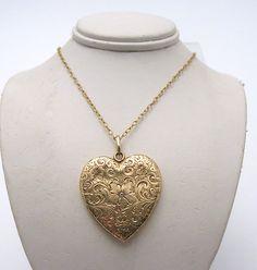 Rare, Large Victorian 14K Heart Locket w/ Diamond Pendant