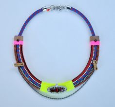 Neon Blue Rope Collar Necklace Uncovet