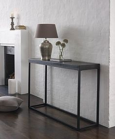 See my selection of cool, functional industrial style console tables showing console table designs from rustic furniture to vintage industrial style furniture Industrial Style Furniture, Unique Furniture, Rustic Furniture, Slim Console Table, Diy Fireplace, Interior Design Living Room, Entryway Tables, Dining Tables, Lombok