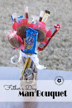 DIY Man Bouquet / Candy Bouquet -- Perfect for Father's Day and Valentines Day!  {OneCreativeMommy.com} Great gift idea for Dads