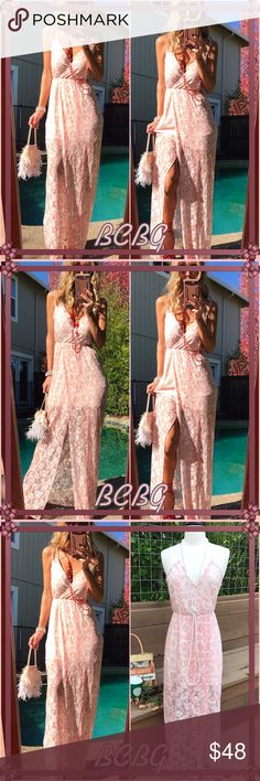 👛Bcbg👛 Long, lace, pale pink v neck delicate BCBG maxi. Easily throw on little chic jacket with short boots and your even rocking fall🌰. This is a classic elegant beauty you won't want to miss!. BCBGeneration Dresses Maxi