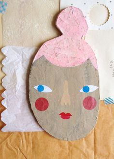Olive!  paper mache mixed media face plaque wall art by Hearts & Needles on Etsy