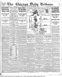 May 22, 1914: May 22, 1914: A Chicago woman known in the social circles was found shot and robbed on a train in Italy. She was in critical condition and unconscious as of this newspaper's deadline.
