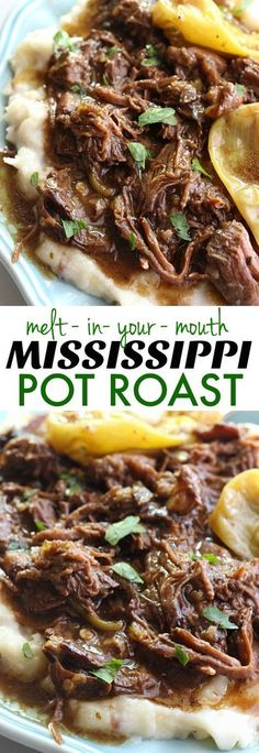 This Mississippi Pot Roast is the most delicious pot roast you will EVER eat! Made with just five simple ingredients and slow cooked in the crockpot, you are going to fall in love with this! recipe pot roast Mississippi Pot Roast {The BEST Pot Roast EVER} Crock Pot Recipes, Pot Roast Recipes, Meat Recipes, Slow Cooker Recipes, Cooking Recipes, Game Recipes, Chuck Roast Recipes, Recipies, Crock Pots