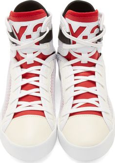 Y-3 White Laver High-Top Sneakers