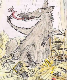 Yum! Nothing like a pigs tail says wolfy. The rest of pig sits in his bloated belly. A scene from Revolting Rhymes by Roald Dahl
