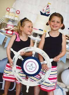 {Let's Set Sail} Nautical Birthday Party // Hostess with the Mostess® Nautical Photo Booth, Nautical Party, Navy Birthday, 90th Birthday Parties, Baby Party, Party Printables, Set Sail, Girl Parties, Ship Wheel