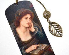 Mini Bookmark with Bronze Pendant Pre-Raphaelite by kerso on Etsy