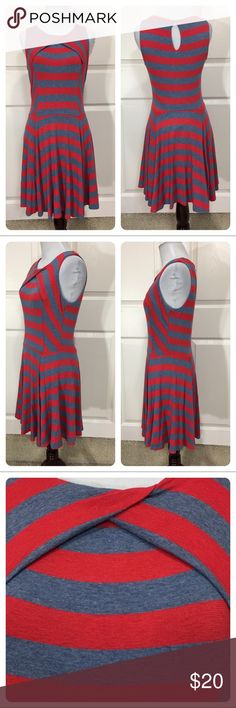 Ella Moss dress Fun blue and red striped dress from Ella Moss. Spandex for fit and comfort. Keyhole opening on back. Small mark on back of dress. Price reduced. Ella Moss Dresses