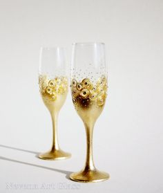 Wedding Glasses Gold Champagne Glasses Wine by NevenaArtGlass, $49.90