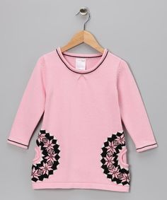 $17. Take a look at this Pink Flower Sweater Tunic - Girls by Chit-Chat on #zulily today!