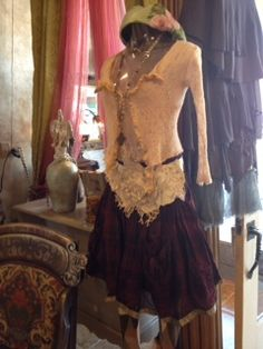 Robin Kaplan sweater Leather and lace belt Ewa I Walla skirt Adorne necklace