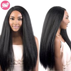 71.40$  Watch now - http://ali1o7.worldwells.pw/go.php?t=32601885391 - 7A Brazilian Virgin Hair Kinky Straight Glueless Full Lace Human Hair Wig For Black Women Italian Yaki Human Hair Lace Front Wig 71.40$