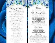 "Printable Wedding Program ""Amelia"" Blue Roses & Hydrangea Template Perfect for Outdoor Summer or Garden Ceremony Program DIY You Print Blue Hydrangea Wedding, Printable Wedding Programs, Ceremony Programs, Blue Roses, Amelia, Templates, Garden, Summer, Diy"