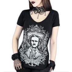 Edgar Allen Poe dames T-shirt zwart