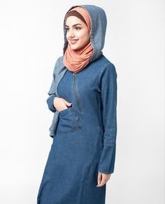 You can keep warm and look fabulous in this storm flap Jilbab. If you like to be trendy then this Jilbab is for you. A must have for your winter wardrobe Abaya Fashion, Fashion Dresses, Denim Abaya, Muslim Dress, Muslim Girls, Keep Warm, Modest Dresses, Winter Wardrobe, Hoods