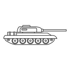 Tank icon in outline style isolated on white background vector illustration