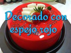 Pastel con espejo rojo y hojuelas de chocolate blanco - YouTube