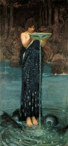 Circe Invidiosa by John William Waterhouse (1849-1917), an English painter associated with the ''second wave'' of Pre-Raphaelite art. Circe, in Greek mythology, is variously known as a goddess, nymph, or enchantress -- renowned in all these roles for her knowledge of herbs, drugs, and magical potions. Waterhouse was fascinated by Circe and painted several versions of her.