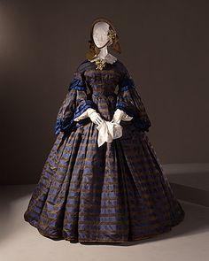 Woman's Dress (Wedding), circa 1860 Costume/clothing principle attire/entire body, Silk damask,